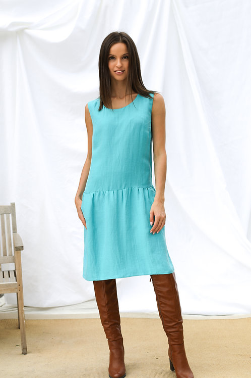 Sukienka bez rękawów z mieszanki len/cupro