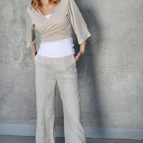 Grube melanżowe spodnie lniane