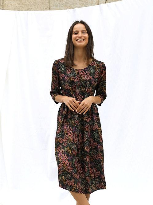 Szeroka sukienka z wiskozy