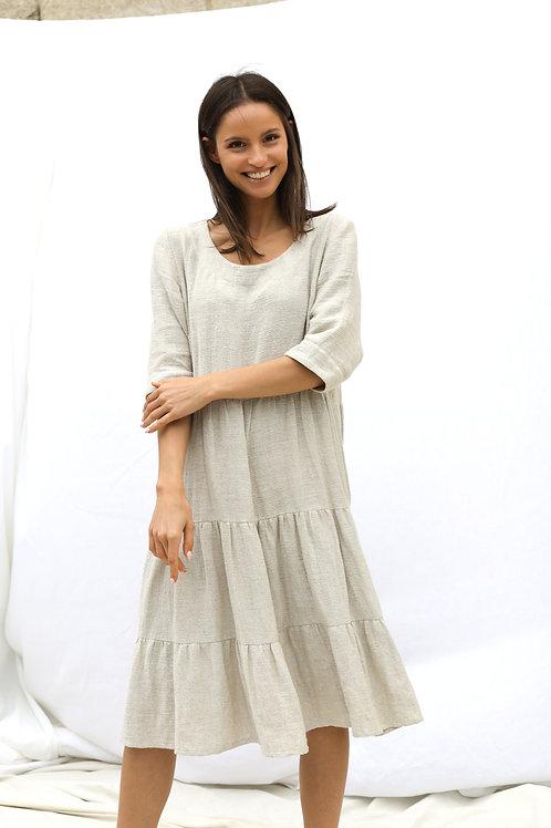 Wide Flounce Linen Dress