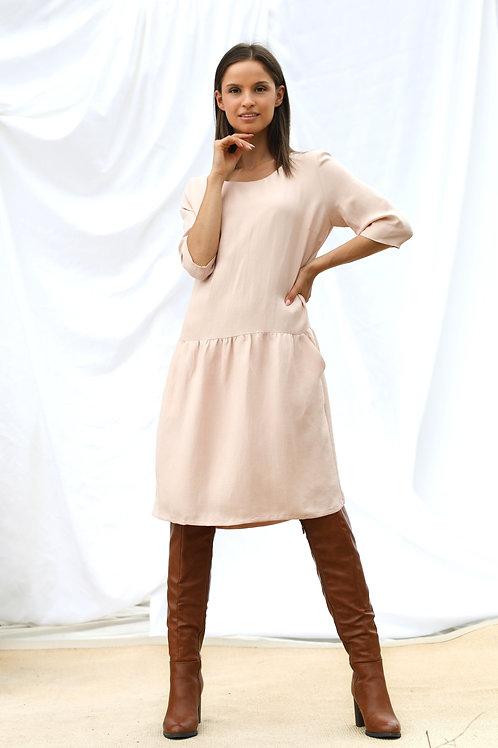 Linen/Cupro Frill Dress