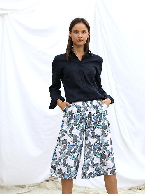 Lniane spodnico-spodnie z nadrukiem w motyle