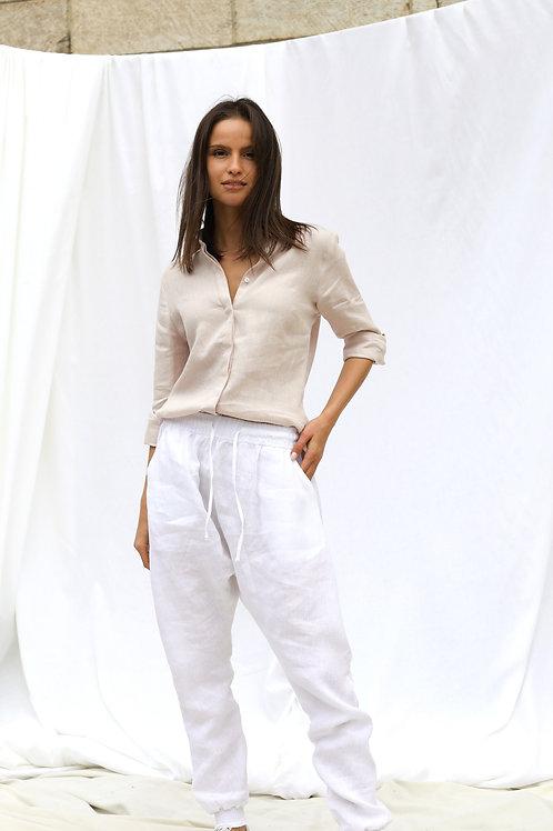 Lniane spodnie z obniżonym krokiem