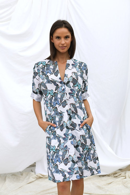 Sukienka lniana w motyle