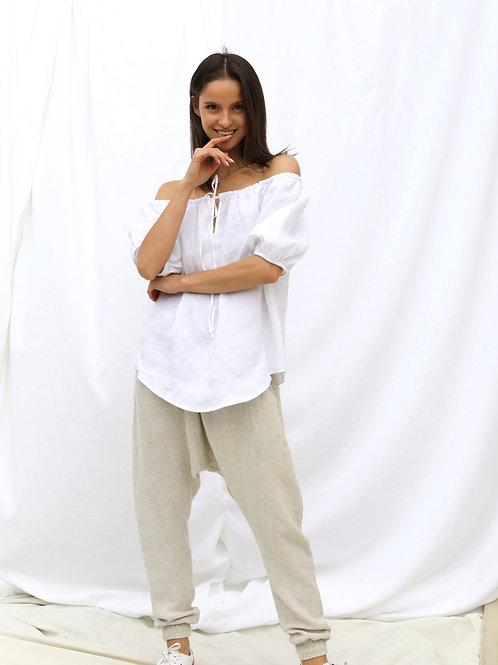 Harem Drop Crotch 100% Linen (melange) Long Pants