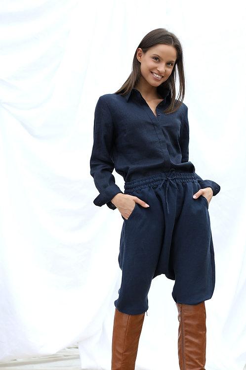 Spodnie z obniżonym krokiem z cupro/len