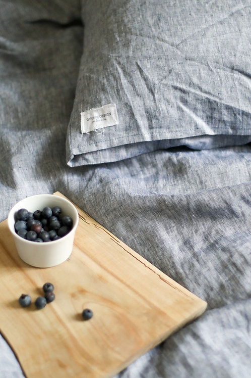 Navy/melange Linen Bedding