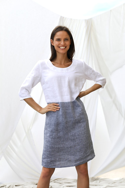 Two-Colors Dress, 3/4 sleeves