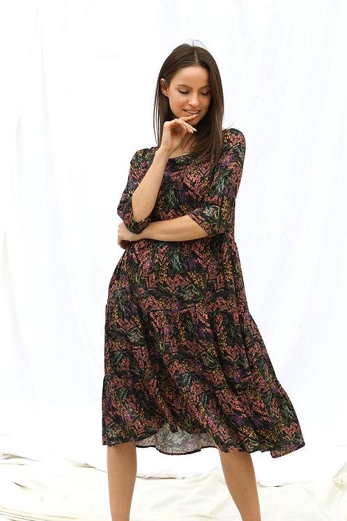 Wide Flounce Viscose Dress