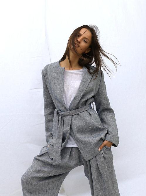Straight-cut Long Twill Jacket