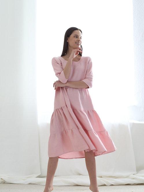 Falbaniasta sukienka z mieszanki cupro/len