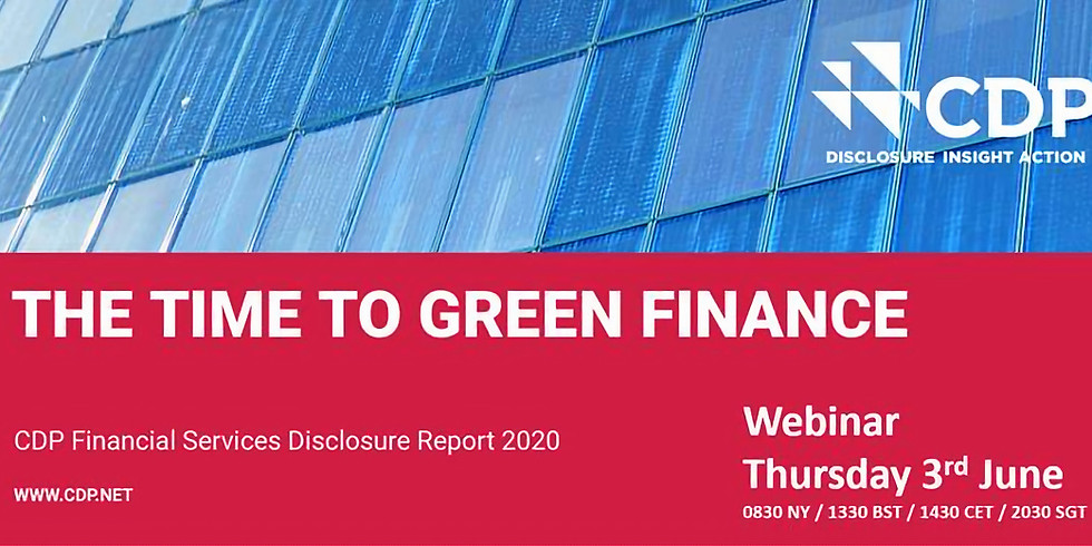 Unpacking CDP's inaugural Financial Services disclosure report – 'The Time to Green Finance'