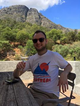 Adam Sipping in Stellenbosch