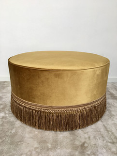 Cleopatra Ottoman with Gold Fringe