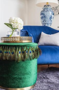 Peacock Feathered Ottoman