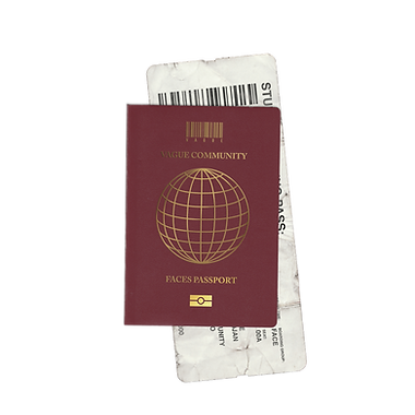 "VAGUE branded passport mock-up with the barcode logo and ""Faces Passport"" written on the cover"