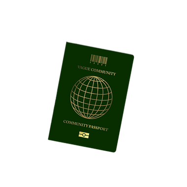 """VAGUE branded passport mock-up with the barcode logo and """"Community Passport"""" written on the cover"""