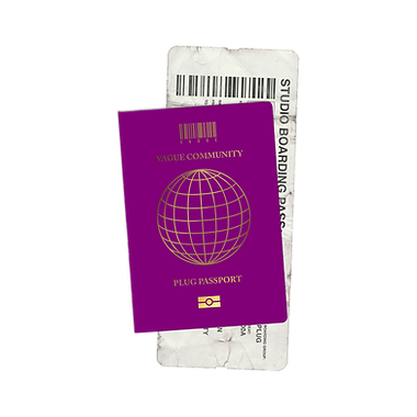 """VAGUE branded passport mock-up with the barcode logo and """"Plug Passport"""" written on the cover"""