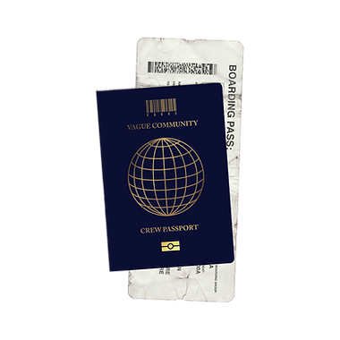 "VAGUE branded passport mock-up with the barcode logo and ""Crew Passport"" written on the cover"