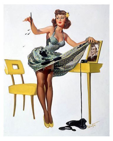 Classic pin up young brunette woman with polka dot dress with spilled ink on dress and desk with framed picture of sailor