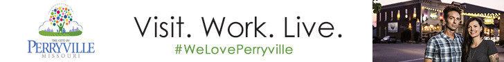 Advertisement for the City of Perryville.  Visit. Work. Live. #WeLovePerryville