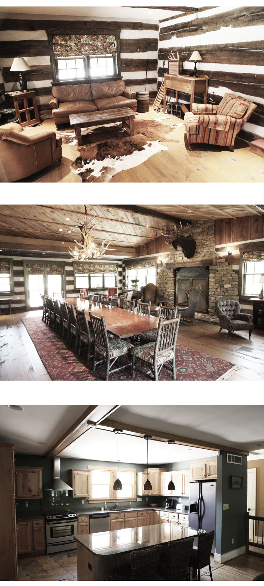 comfortable lodge livingroom, dinning hall and kitchen in log cabin at Westover Farms
