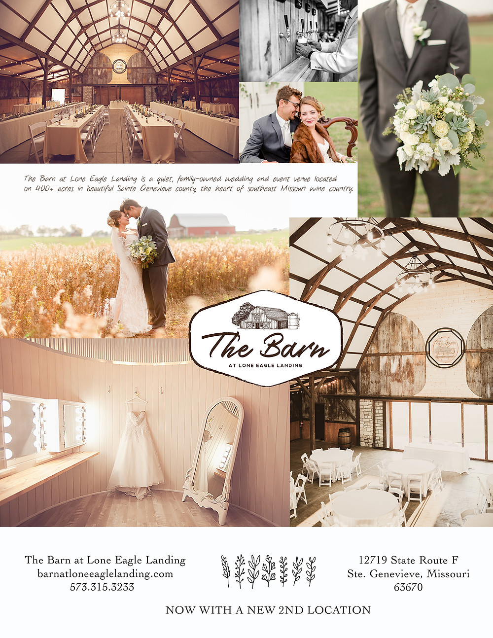 paid ad from The Barn at Lone Eagle Landing wedding venue with bride and groom dancing photo ops and banquet hall