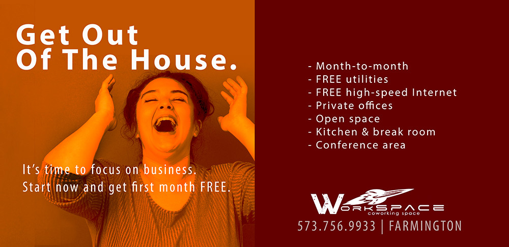 "Advertisement for Workspace, private office space in Farmington happy woman laughing ""get out of the house"""
