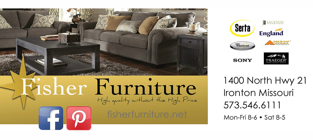 Advertisement for Fisher Furniture in Ironton Missouri