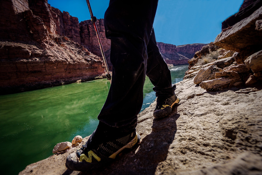 Elyssa Shalla nearing the end of a nearly 700-mile thru-hike of the Grand Canyon