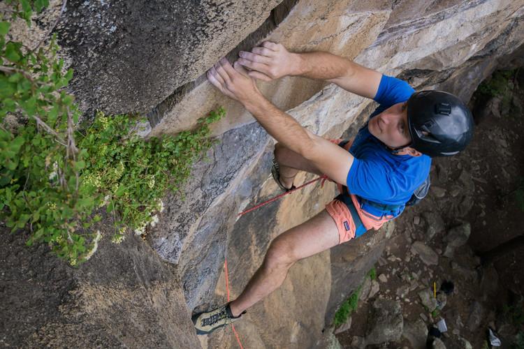 Solomon Krevans climbing at The Peaks, Flagstaff