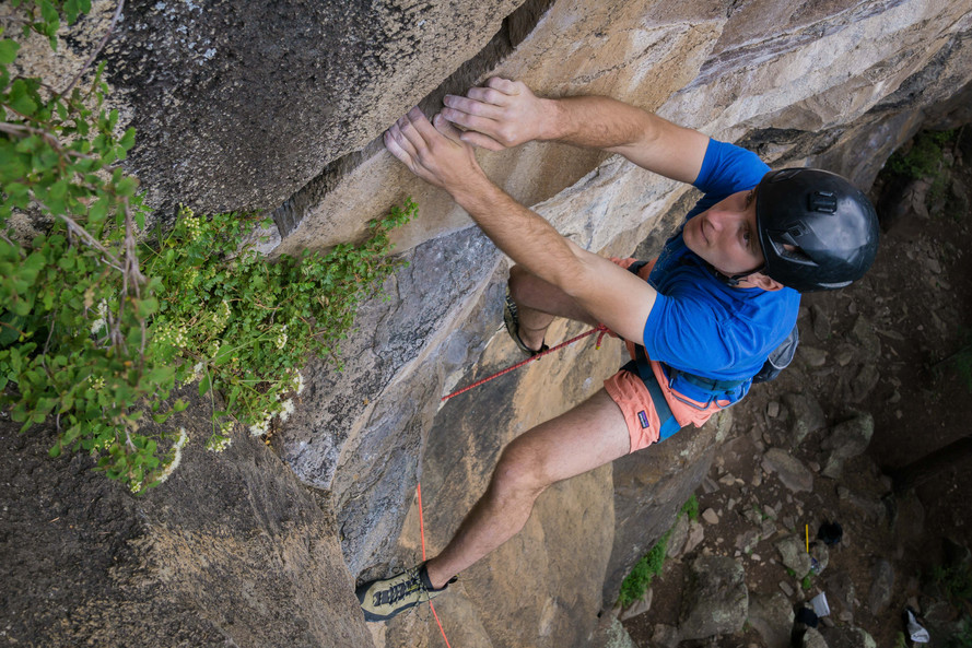 Solomon Krevans climbing at The Peaks, Flagstaff