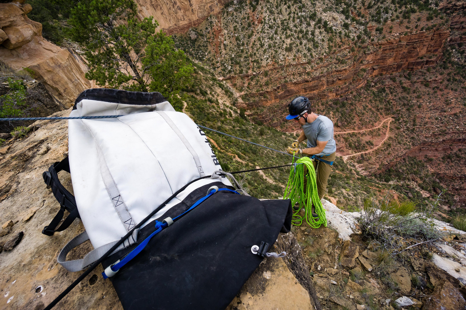 Solomon Krevans at the top of a new route in the Grand Canyon
