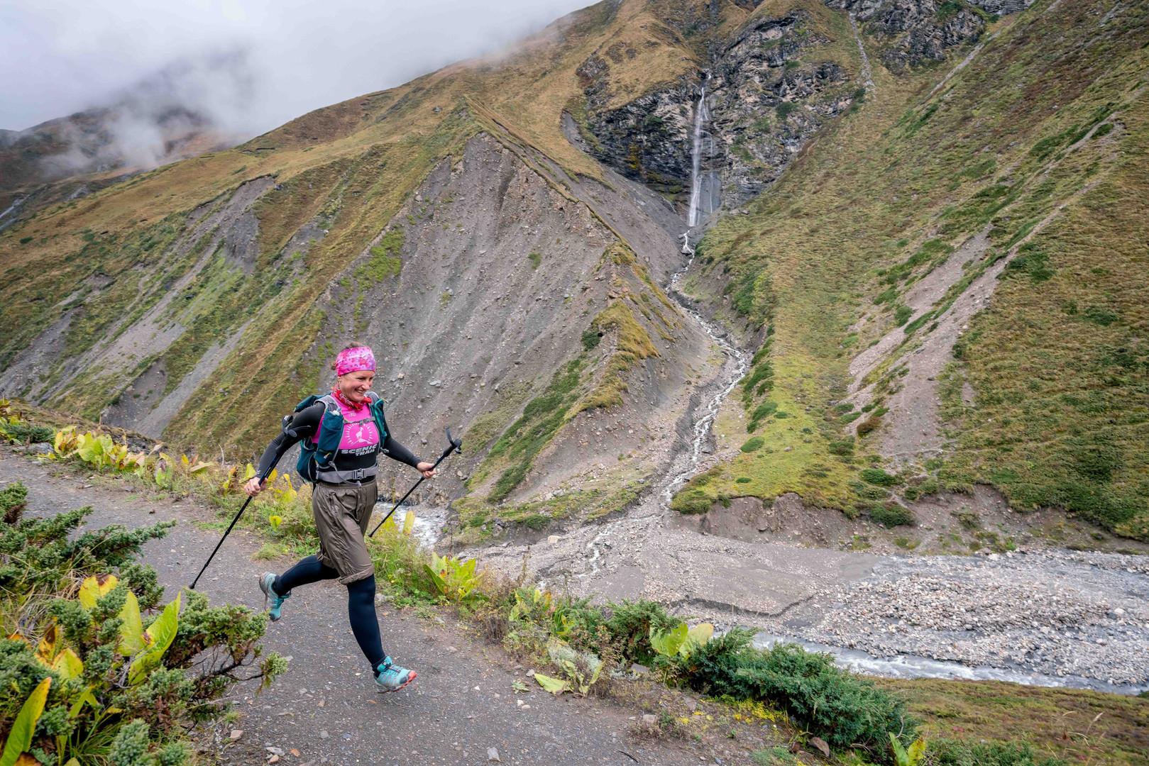 Moira running in the Himalayas