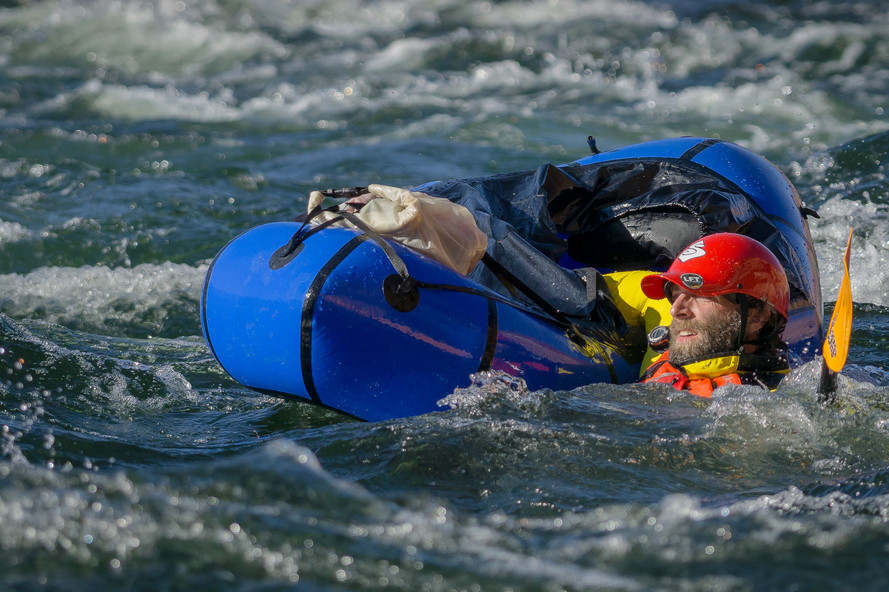 Ben Tobin swimming in the Colorado River