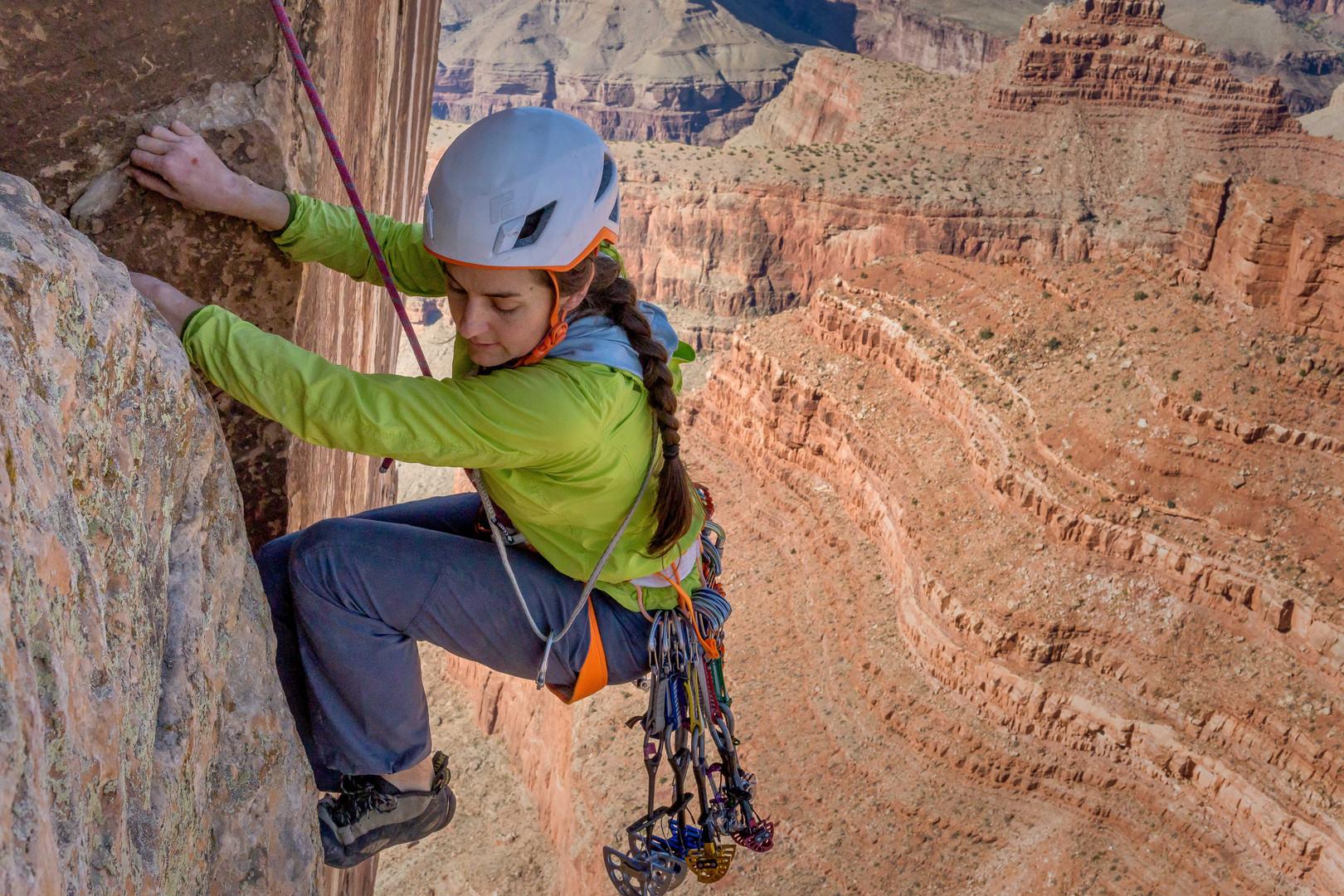 Kate McHugh nearing the summit of Zoroaster Temple