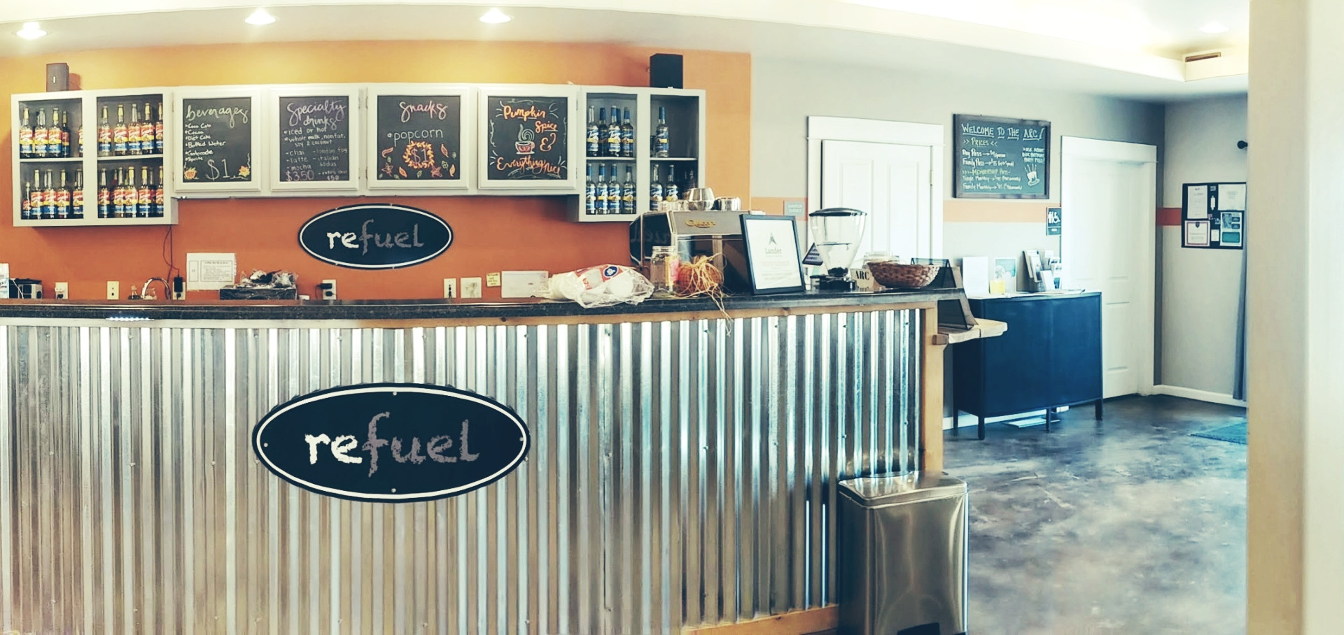 Visit our Refuel Bar for a coffee or Italian Soda!