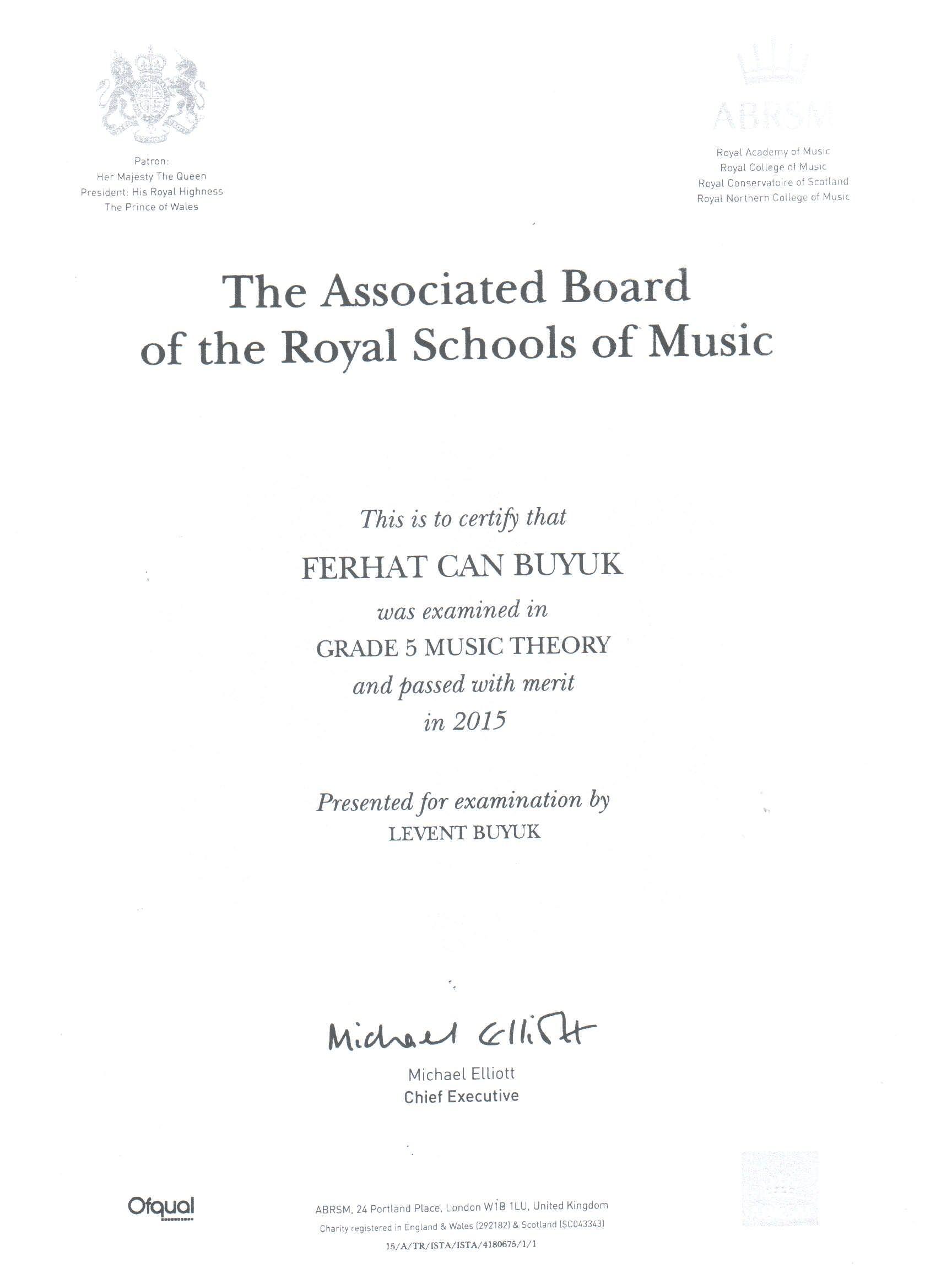 Royal_School_Teori_Grade_5_Sertifikası
