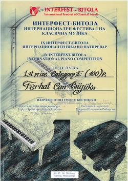 Bitola Comp 1'st Prize Certificate