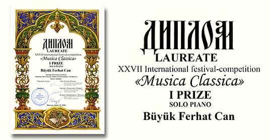 F. C. Büyük received first prize at the Musica Classica Competition
