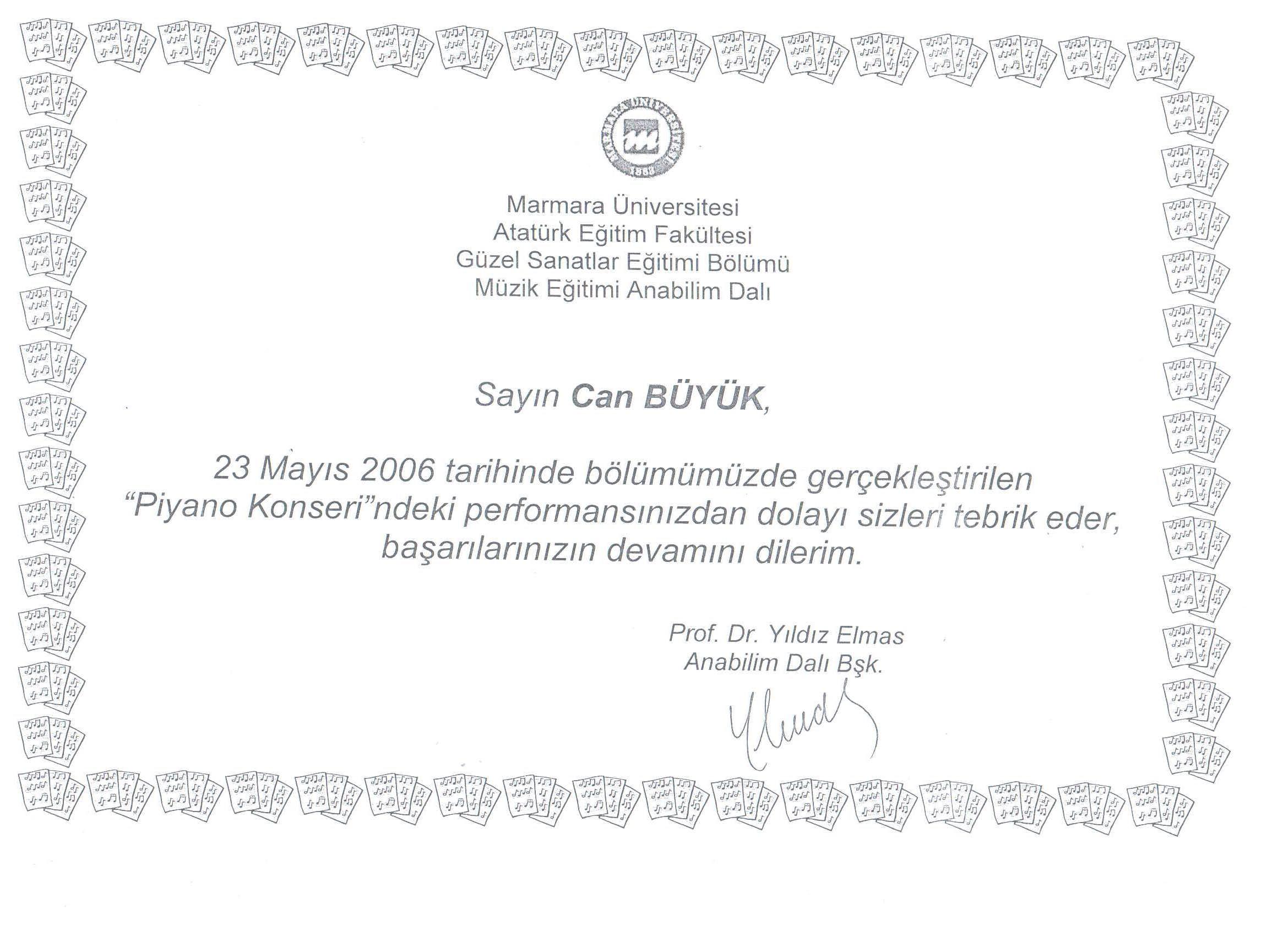 Marmara_Universitesi_Teşekkür_Belgesi_2006