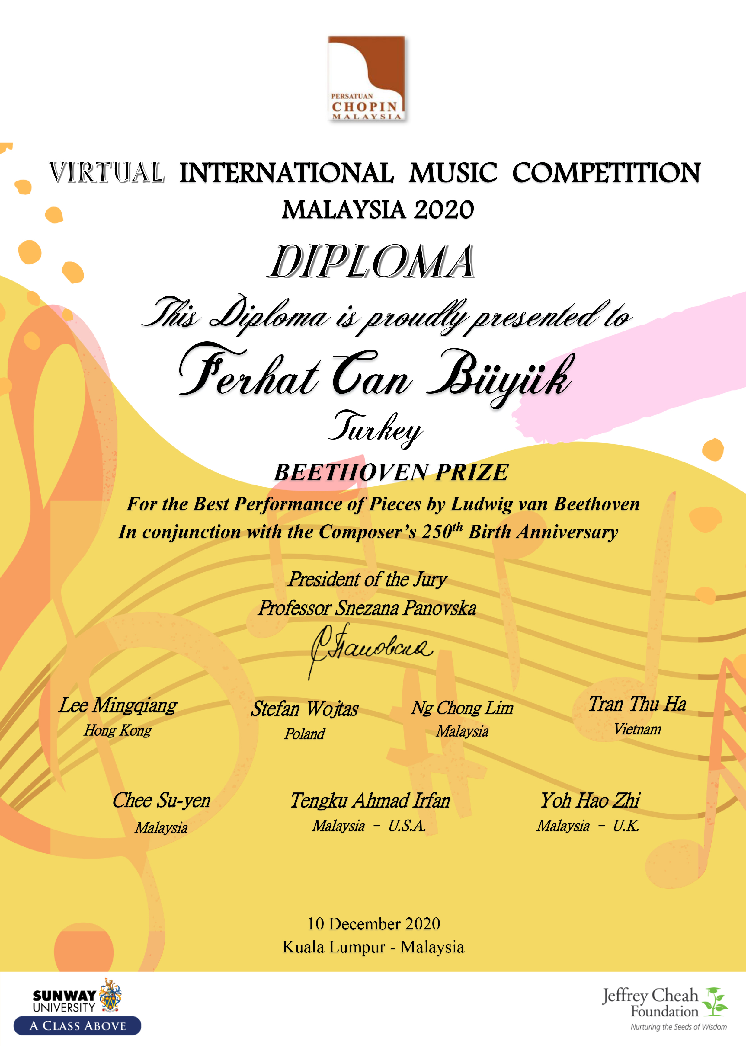 Malaysia 2020 Beethoven Prize