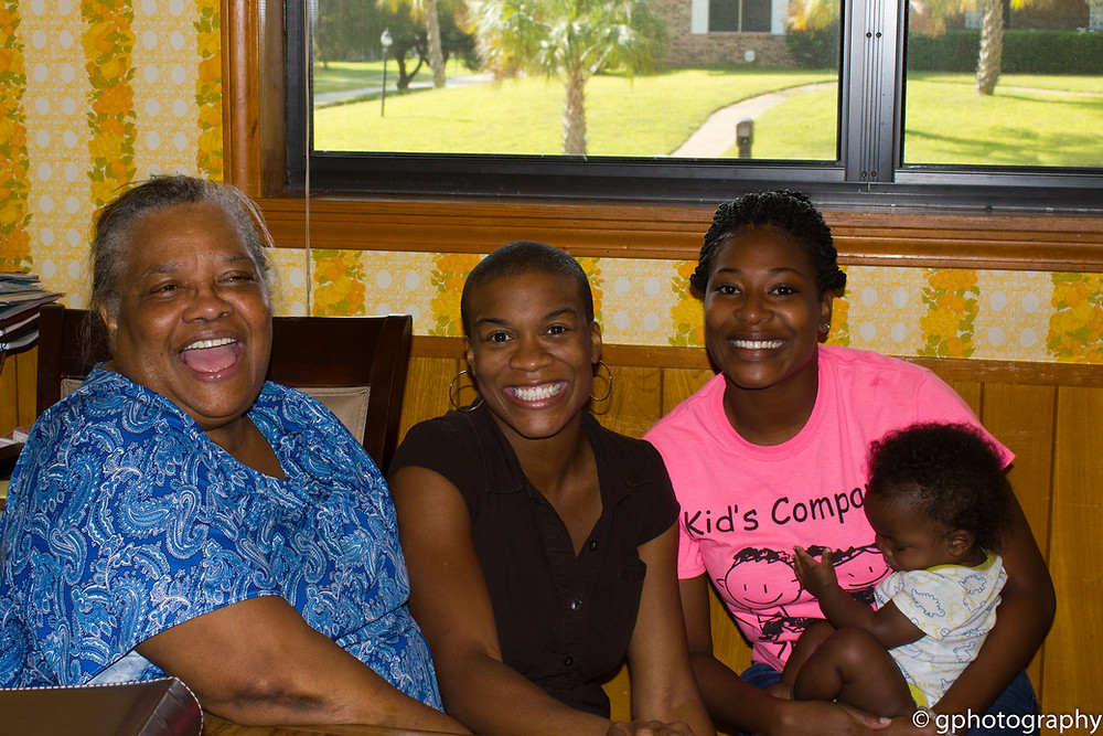 Melvie with myself and her grandkids.