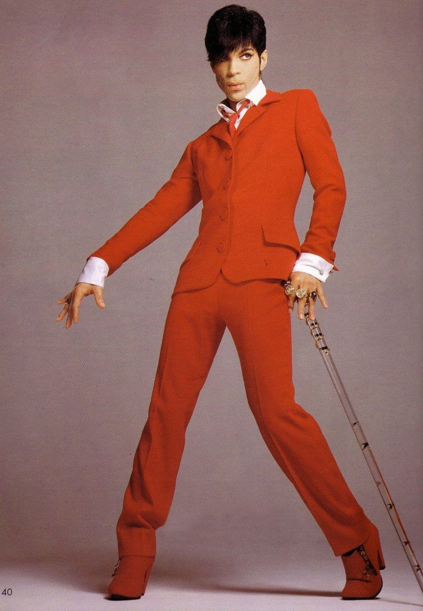 Prince in red Versace suit