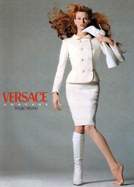 Kristen McMenamy in white Versace suit