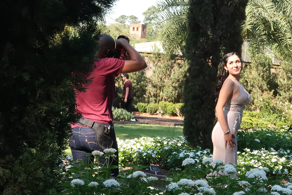 G Photography and 2020 senior at Mercer Botanic Gardens in Houston, TX for a prom gown session