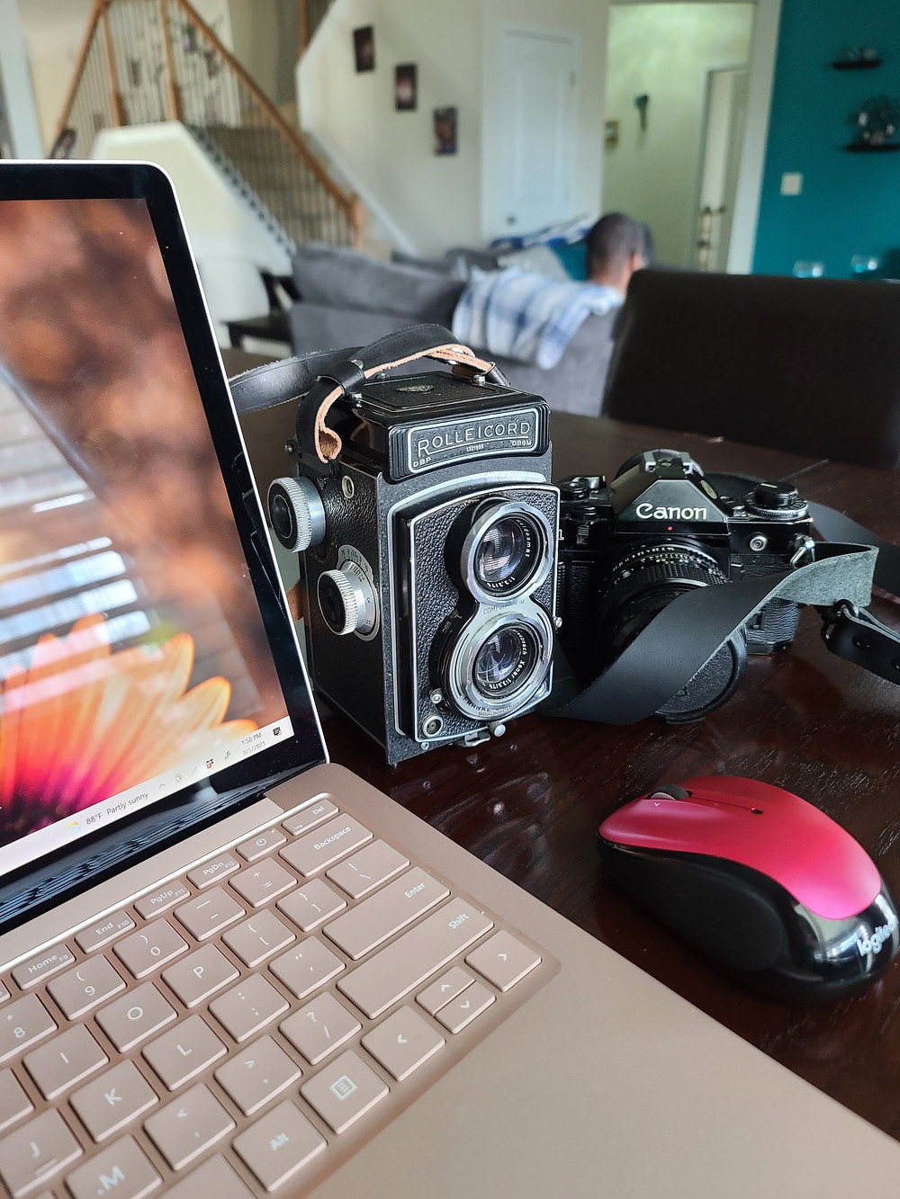 At the table with my rose gold laptop, Rolleicord, and Canon A-1 35mm camera.