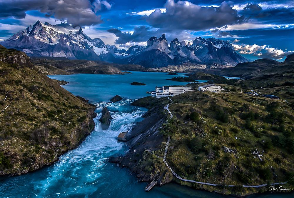 Explora Patagonia - drone shot over hotel