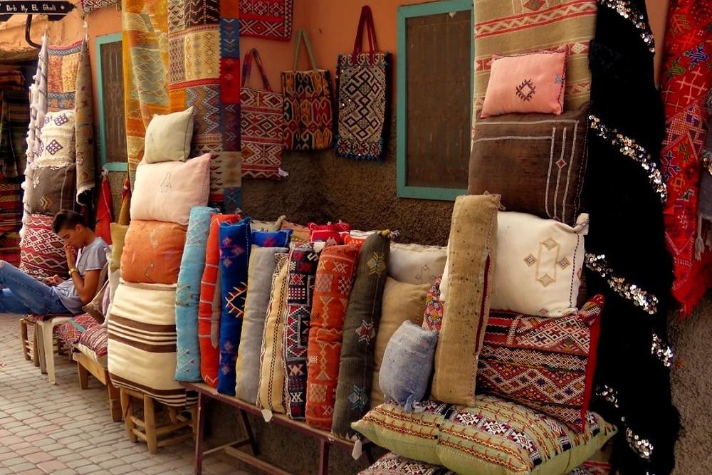 a rug souk in Marrakech