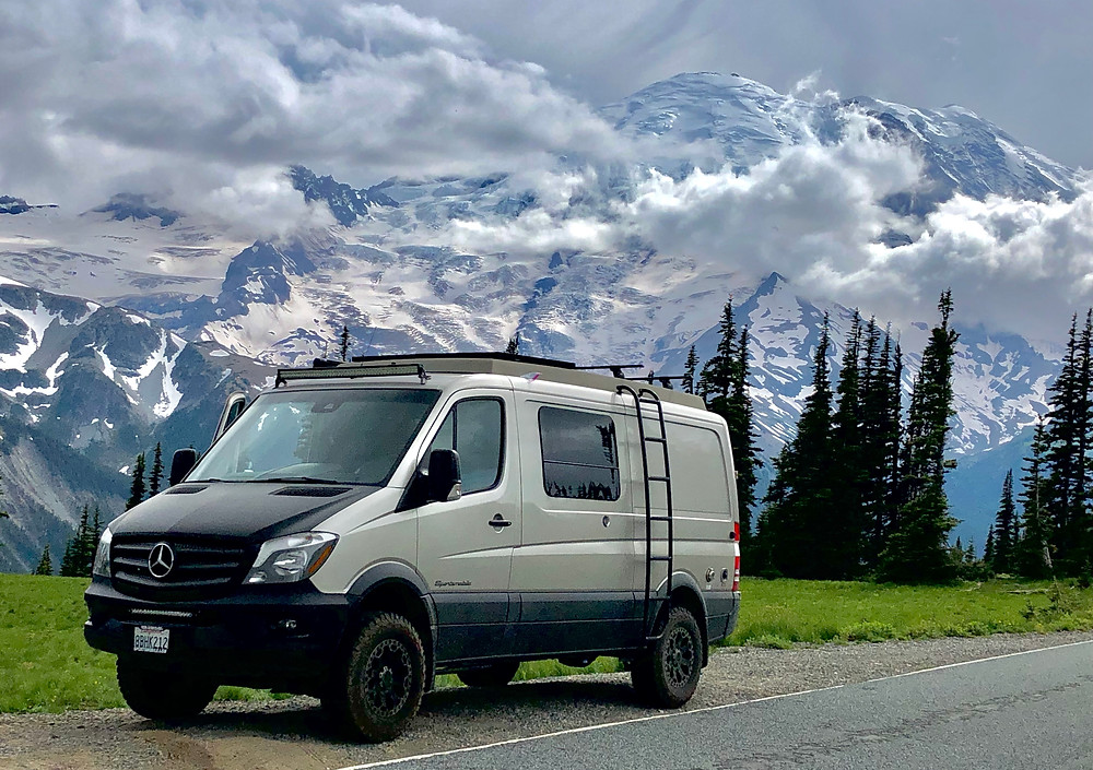Paradox Travel - Our Mercedes Sprinter Van at Rainier National Park - see complete road trip itinerary at www.paradoxtravels.com